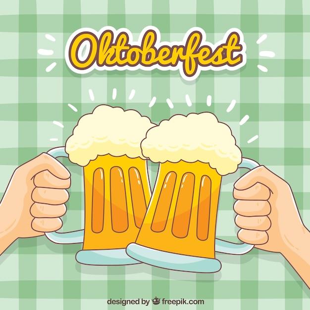 Contexte des toasts avec des bières tirées à la main Vecteur gratuit
