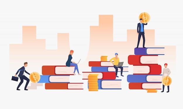 Contexte urbain avec des gens d'affaires et des livres Vecteur gratuit