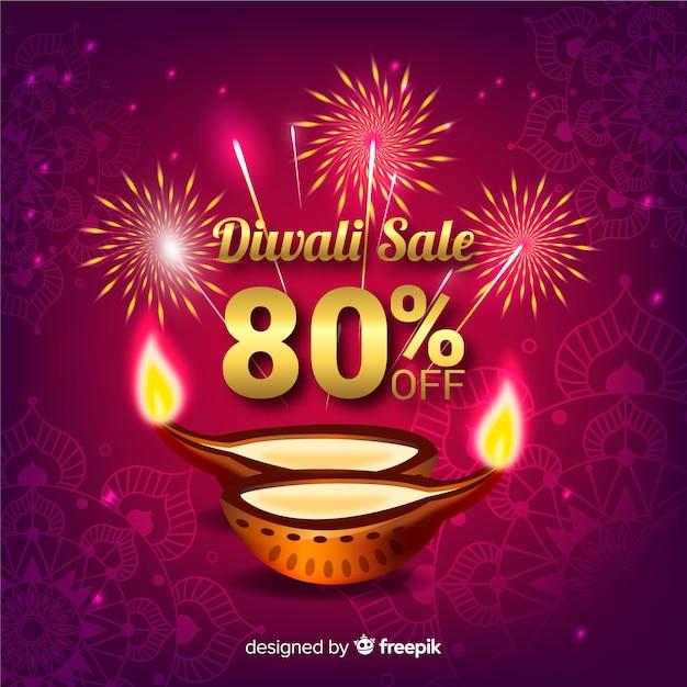 Contexte de vente de diwali Vecteur gratuit