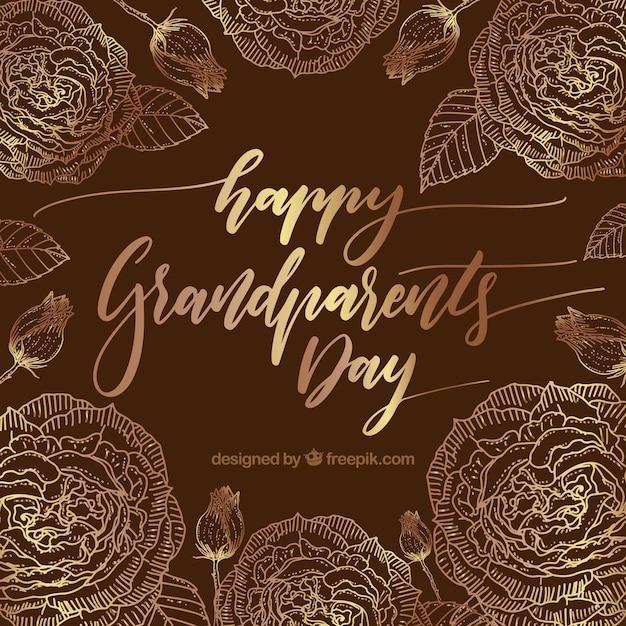 Contexte vintage de la journée des grands grands parents avec des fleurs dorées Vecteur gratuit