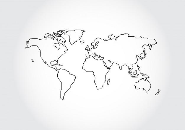 Contour de carte du monde isolé sur fond blanc Vecteur Premium