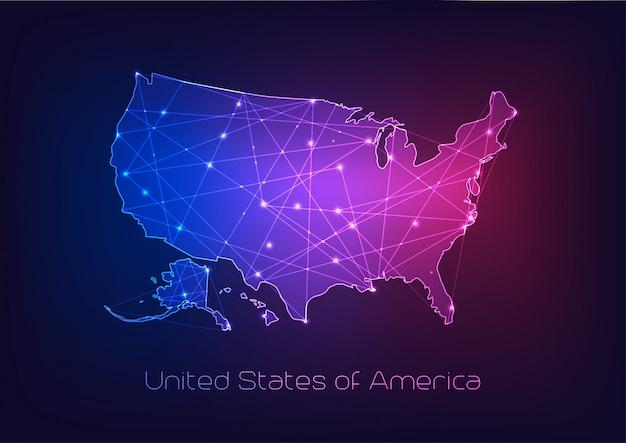 Contour de carte états-unis d'amérique usa avec cadre abstrait d'étoiles et de lignes. Vecteur Premium