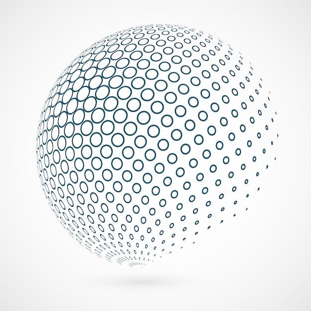 Contour de cercle global de la technologie de fond bleu. Vecteur Premium