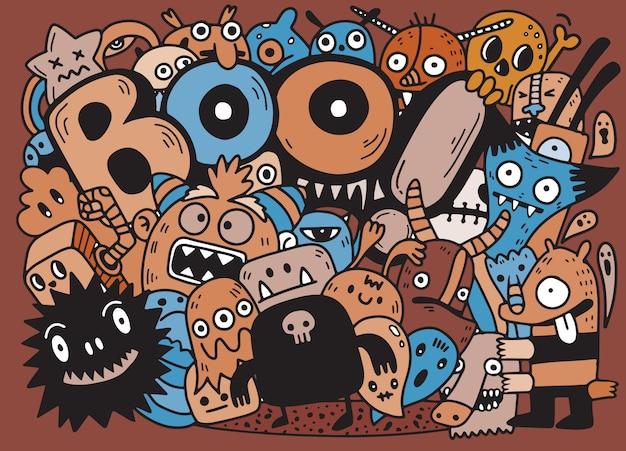 Contour de contour heureux halloween doodle. fond de papier, illustration vectorielle Vecteur Premium