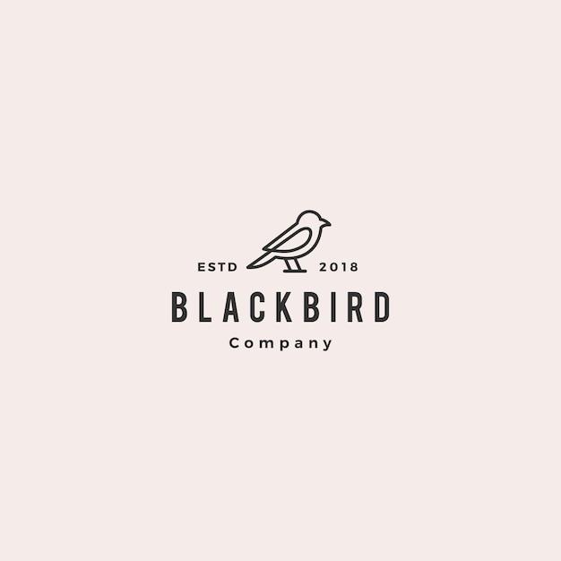 Contour de ligne oiseau logo hipster vecteur rétro vintage Vecteur Premium