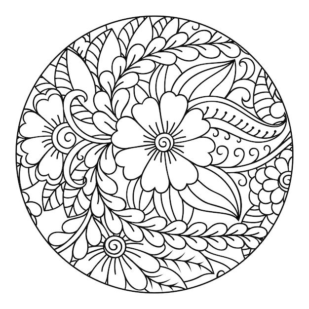 Contour Motif Floral Rond Pour Colorier La Page Du Livre. Doodle En Noir Et Blanc. Illustration De Dessin à La Main. Vecteur Premium