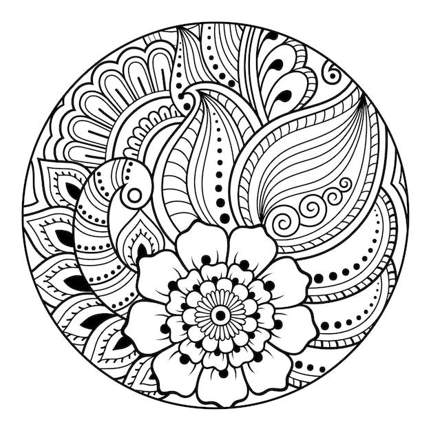 Contour Motif Floral Rond Pour Colorier La Page Du Livre Vecteur Premium