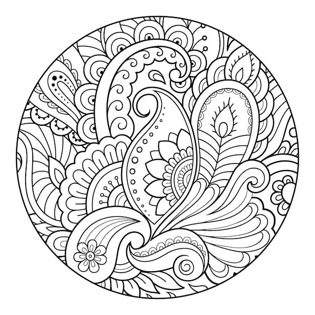 Contour Motif Floral Rond Pour Colorier La Page Du Livre. Vecteur Premium