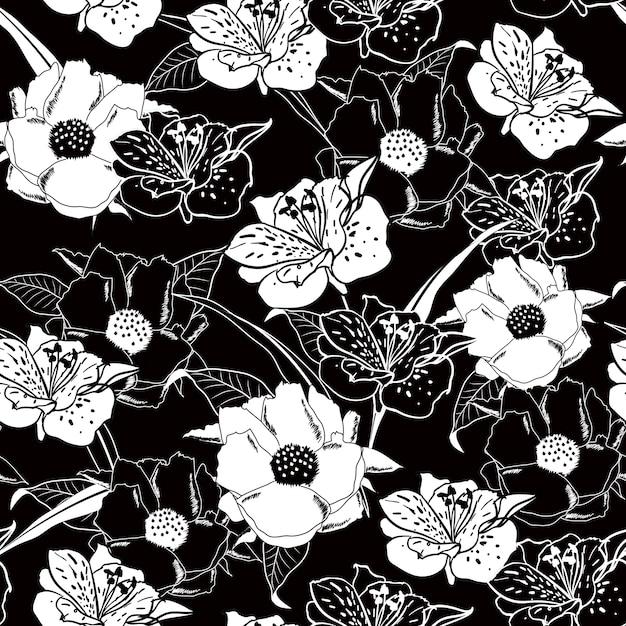 Contour noir et blanc motif floral sans soudure. Vecteur Premium