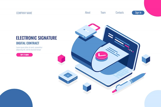 Contrat Numérique, Signature électronique Du Document, Fichier Authentique, Sécurité De La Source De Données Vecteur gratuit
