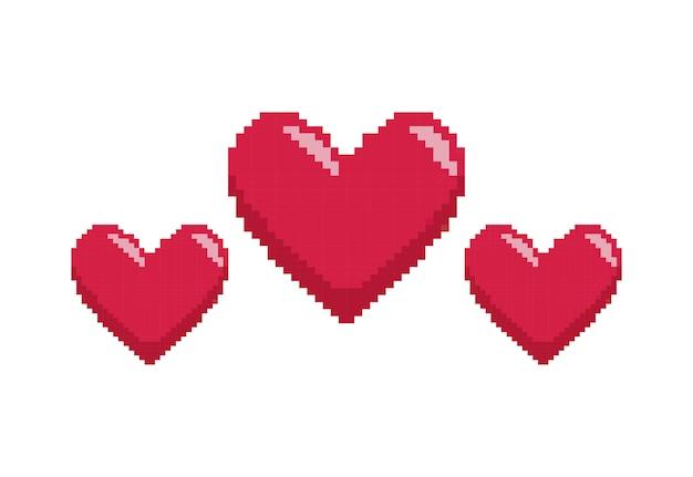 Contrôle du jeu vidéo avec pixelisation du coeur Vecteur Premium