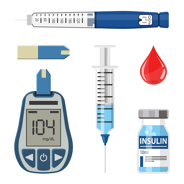 Contrôlez Votre Concept De Diabète. Icons Set Avec Lecteur De Glycémie, Seringue De Stylo à Insuline. Isolé Vecteur Premium
