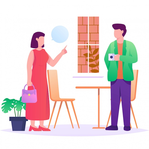 Conversation couple sur illustration plat café Vecteur Premium