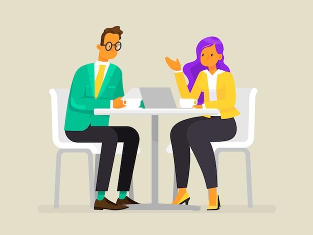 Conversation De Gens D'affaires. Un Homme Et Une Femme Discutent Du Projet, Illustration Dans Un Style Plat Vecteur Premium