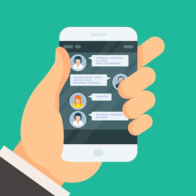 Conversation Par Chat Sur L'écran Du Smartphone - Sms Vecteur Premium