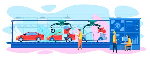 Convoyeur automatique de voiture Vecteur Premium
