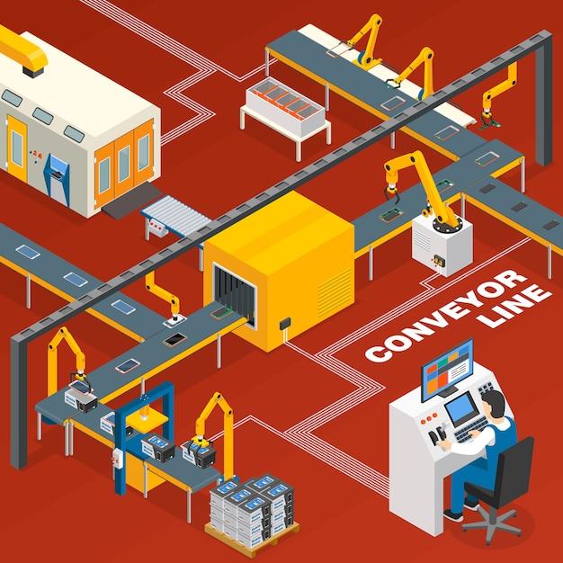 Convoyeur et concept d'opérateur Vecteur gratuit