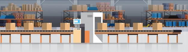 Convoyeur d'entrepôt de fabrication, chaîne de production moderne d'assemblée production industrielle de convoyeur Vecteur Premium