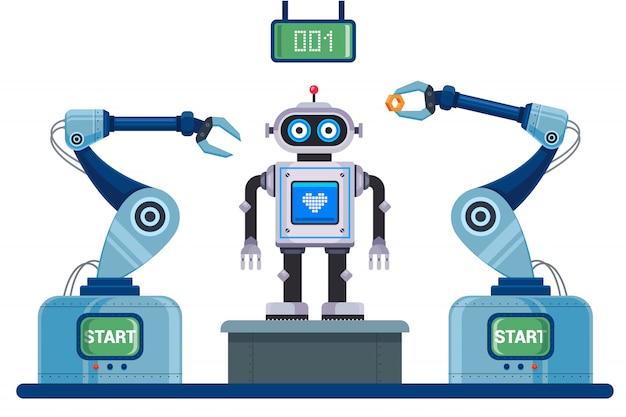 Convoyeur Mécanisé Pour L'assemblage Du Robot. Illustration De Caractère. Vecteur Premium
