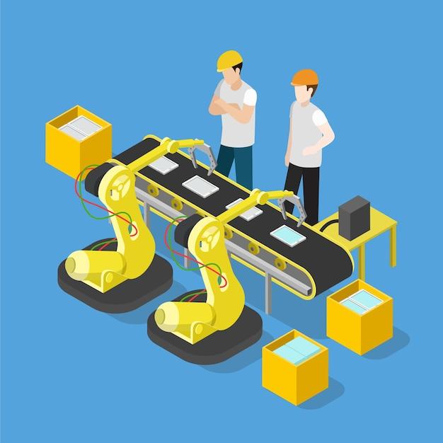 Convoyeur D'usine De Production De L'industrie électronique De Tablette Smartphone Isométrique Plat Vecteur Premium