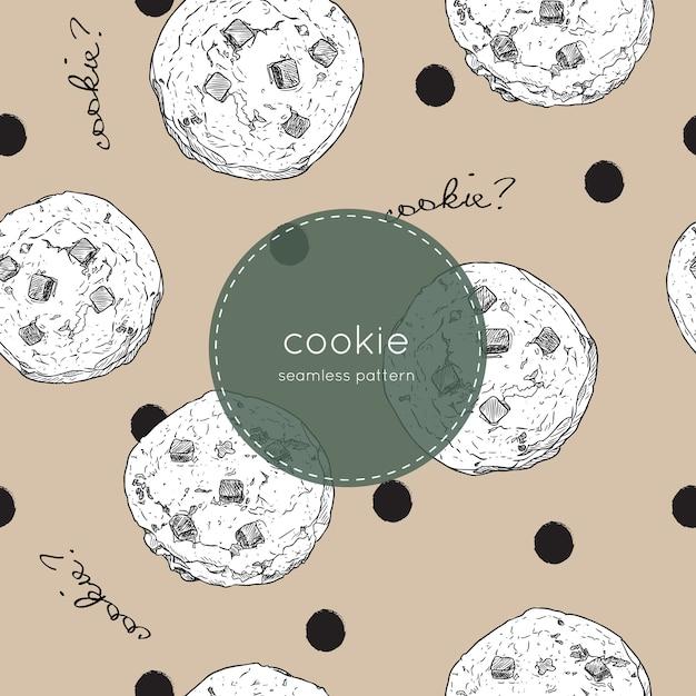 Cookie aux pépites de chocolat Vecteur Premium