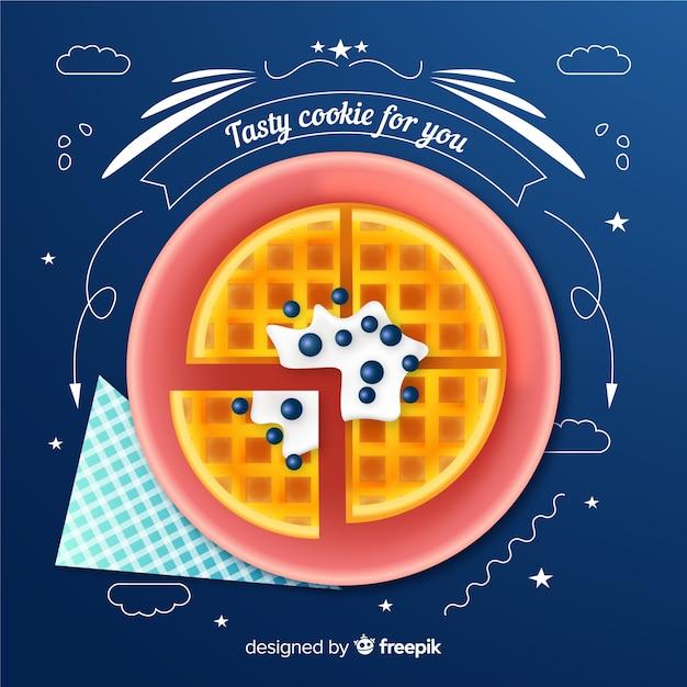 Des cookies réalistes avec des griffonnages Vecteur gratuit