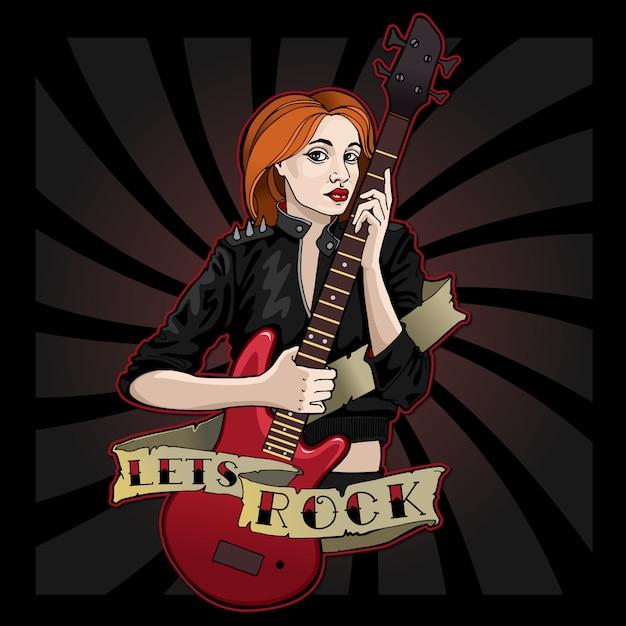 Cool girl avec une guitare rouge permet le rock! Vecteur Premium