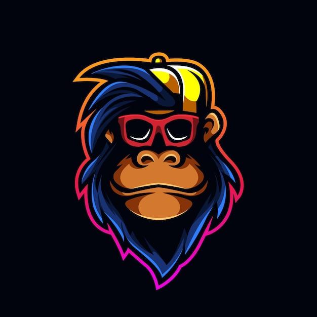 Cool Monkey Avec Tête De Logo De Jeu Mascotte Capuchon En Verre Vecteur Premium