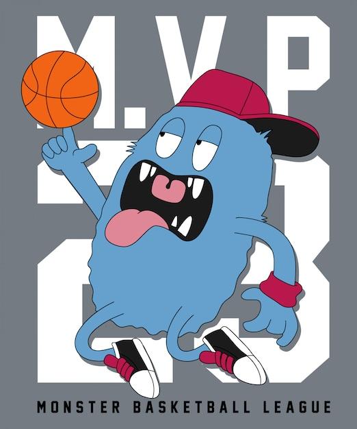 Cool monstre jouant au basketball Vecteur Premium