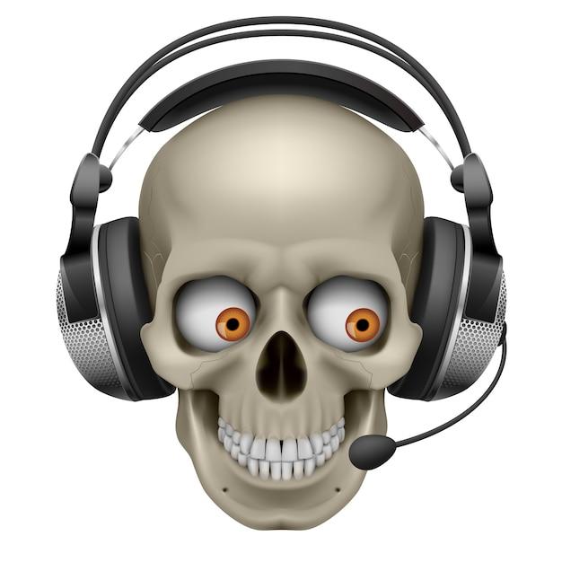 Cool Skull Avec Un Casque Vecteur Premium