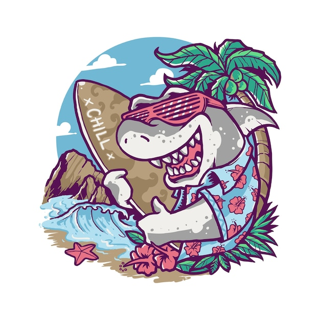 Cool summer shark vacances cartoon illustration Vecteur Premium
