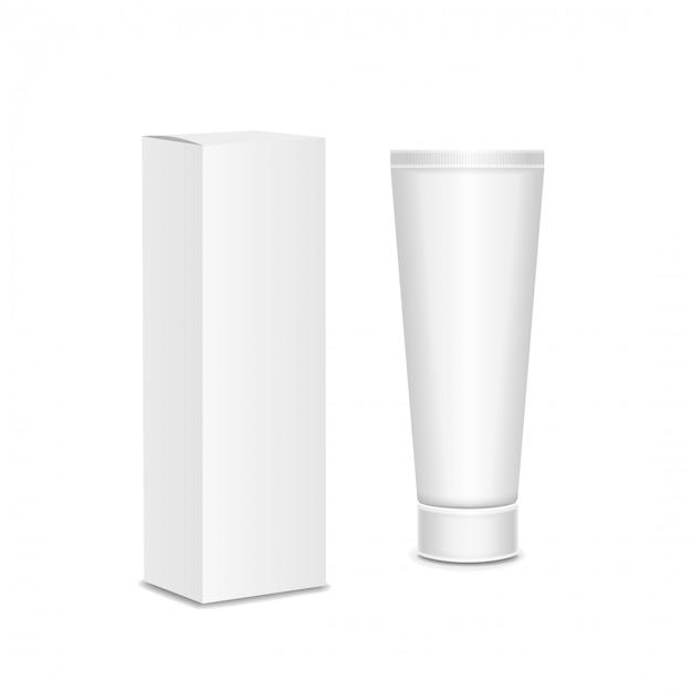 Cool tube blanc réaliste et l'emballage. pour les cosmétiques, pommades, crème, dentifrice, colle vector. Vecteur Premium
