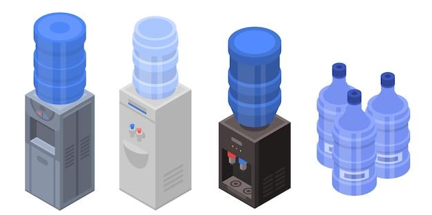 Cooler water icons set. ensemble isométrique d'icônes vectorielles de l'eau plus froide pour la conception web isolée sur fond blanc Vecteur Premium