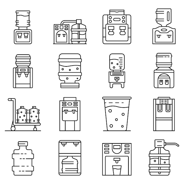 Cooler water icons set, style de contour Vecteur Premium