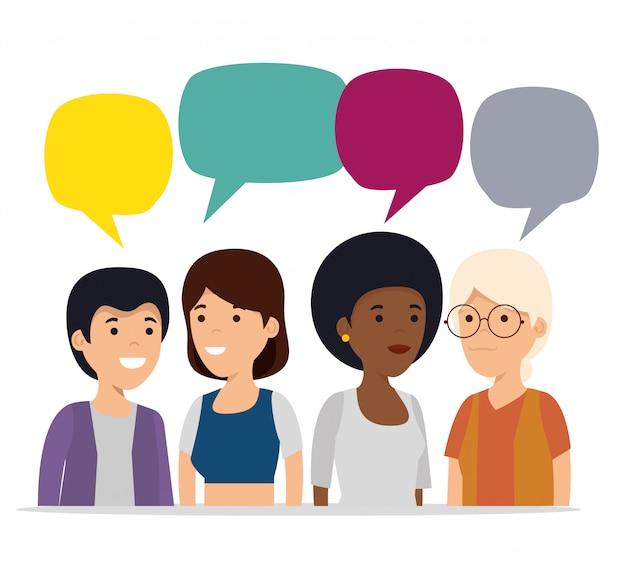 Coopération De Personnes Avec Bulle De Discussion Sociale Vecteur gratuit