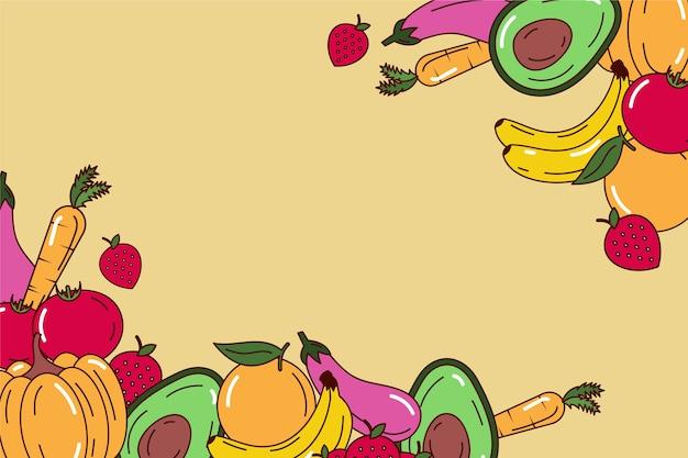 Copiez L'espace Fruits Et Légumes Vecteur gratuit