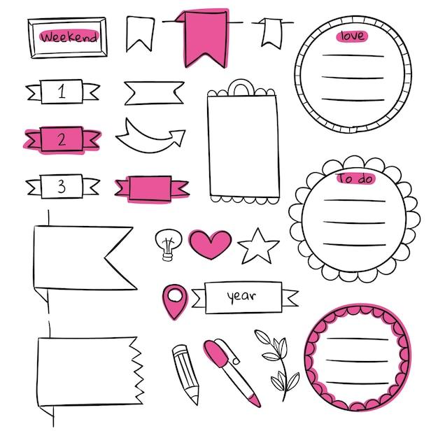 Copiez Le Modèle De Journal De Balle Rose Espace Vecteur gratuit