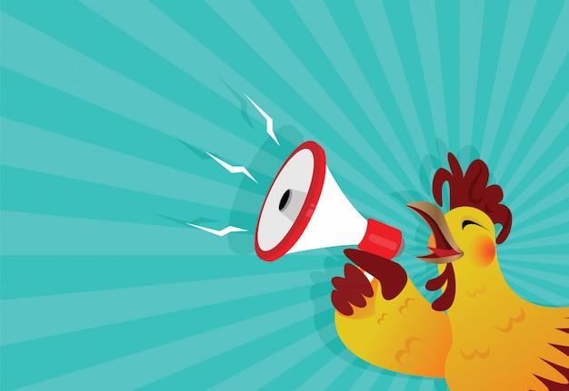 Le coq chante avec un mégaphone Vecteur Premium