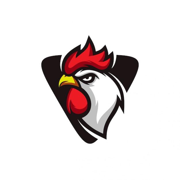 Coq logo Vecteur Premium