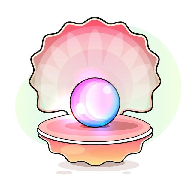 Coquille ouverte avec perle à l'intérieur Vecteur Premium