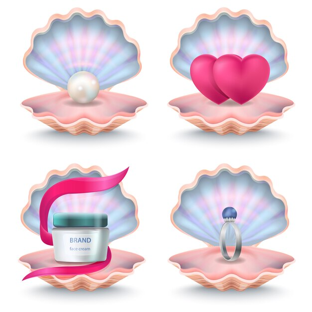 Coquilles roses ouvertes avec une bouteille de crème pour le visage, deux cœurs roses, une alliance avec pierre et perle à l'intérieur. coquillages de vecteur Vecteur Premium