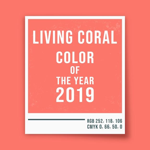 Corail vivant - couleur de l'année 2019 - fond de cadre photo. illustration vectorielle Vecteur Premium