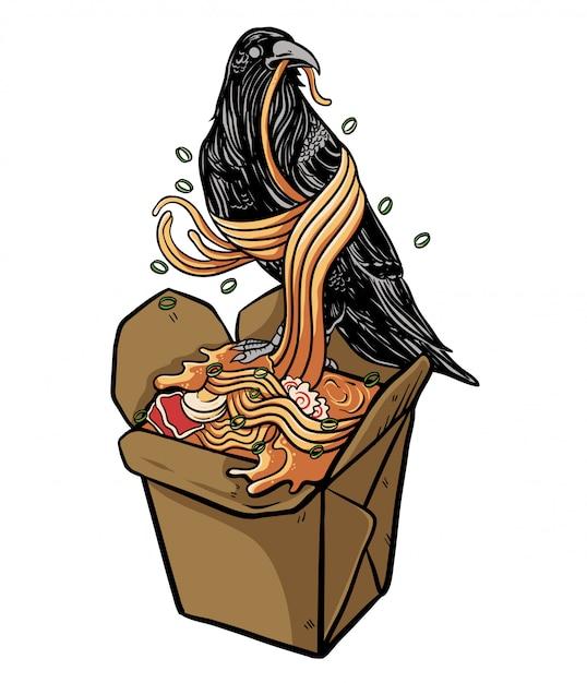Corbeau, manger, illustration, nouilles ramen Vecteur Premium
