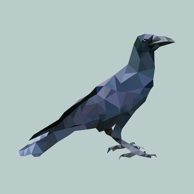 Corbeau Polygonal, Oiseau Triangle Polygone, Vecteur Animal Isolé Vecteur Premium
