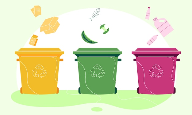 Corbeille en papier, organique et en plastique séparant une illustration Vecteur Premium