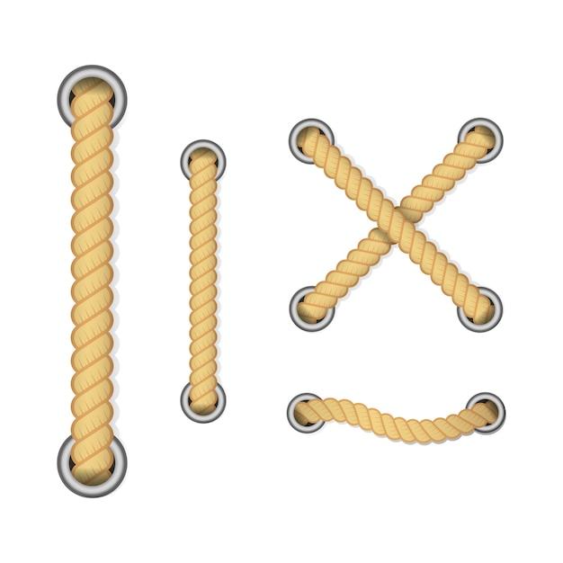 Corde De Décoration Et De Revêtement, Nœuds Nautiques Torsadés. Vecteur Premium