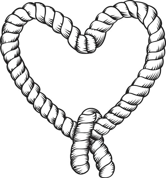 Corde En Forme De Coeur Vecteur Premium