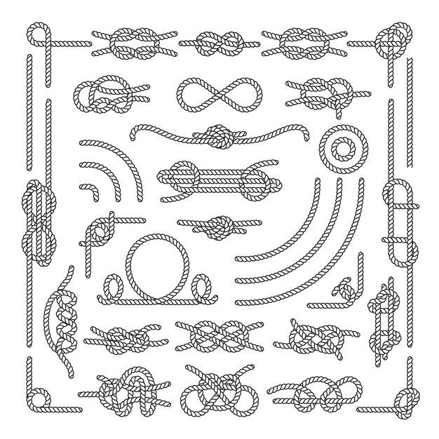 Corde nautique noue des éléments vintage décoratifs. ensemble de noeuds de corde Vecteur Premium