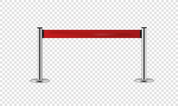 Corde Rouge Pour Les Halls D'exposition Et Les Concessionnaires Automobiles. Clôture Réaliste Pour Entrée Exclusive Ou Zone De Sécurité Vecteur Premium