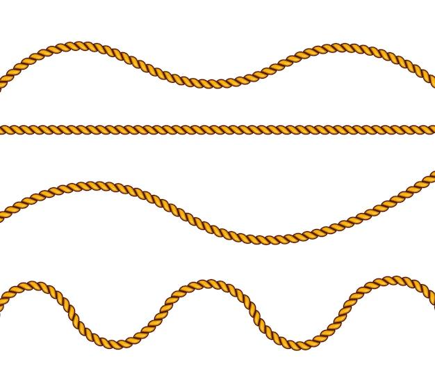 Cordes En Fibre. éléments Décoratifs Avec Fil Marron. Vecteur Premium